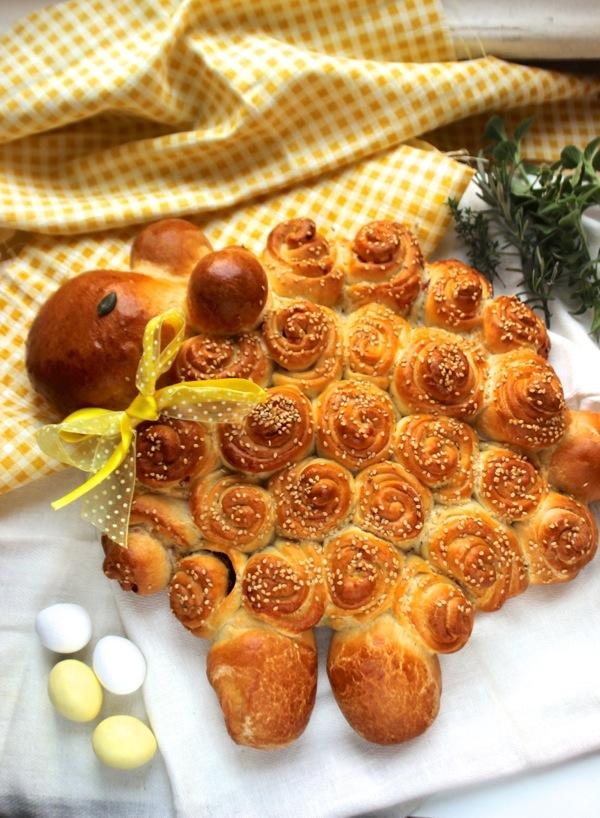 pane soffice di Pasqua, agnellino di pane