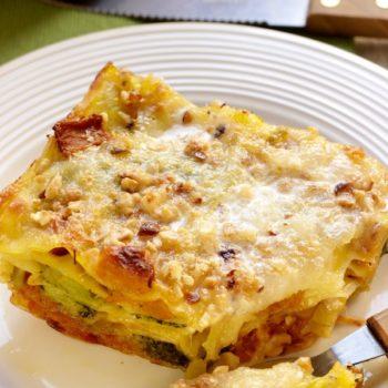 Lasagne con broccoli zucca porri e taleggio