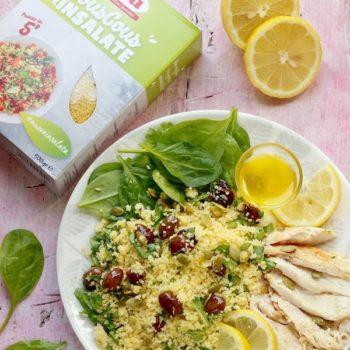 Insalata di couscous con pollo al limone spinaci e olive taggiasche