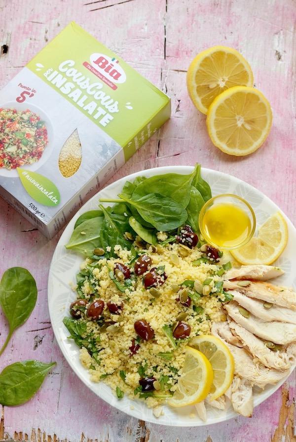 cous cous con pollo al limone spinaci e olive taggiasche