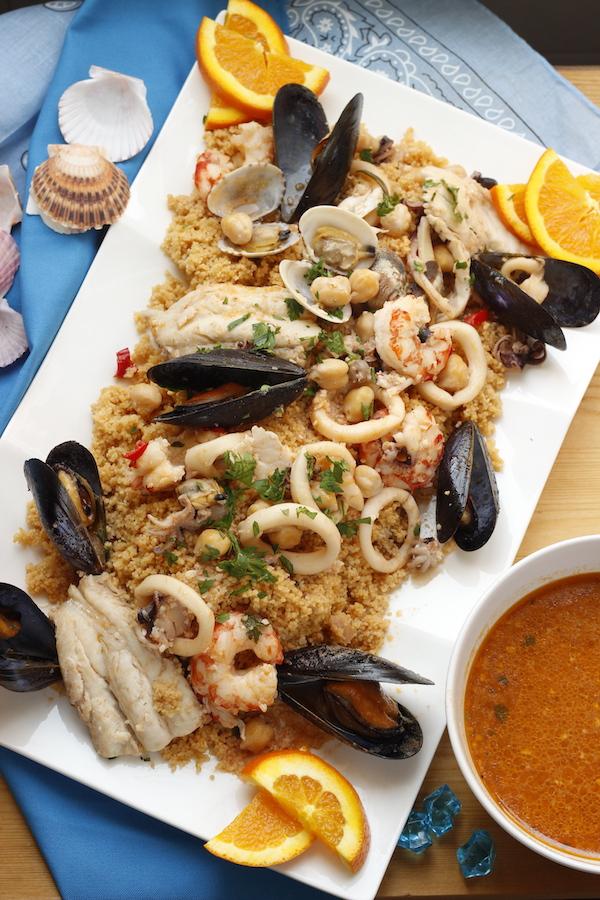 zuppa di pesce con frutti di mare e cous cous