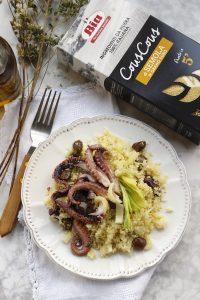 Insalata di cous cous con polpo olive e sedano