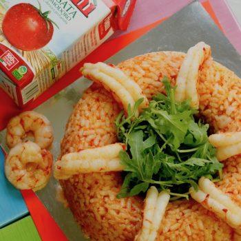 Corona di riso con rucola e gamberi