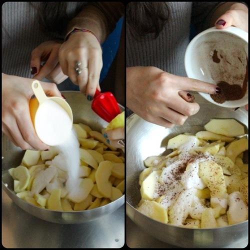 mettiamo nelle fettine di mela il succo di limone, la cannella e lo zucchero mescolato ai due cucchiai di farina