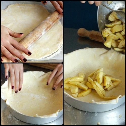 prendiamo la pasta dal frigo e stendiamo il primo disco, poi versiamo le mele