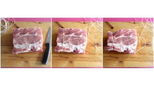 prendete un pezzo di carne per arrosto, pulitelo dal grasso e fategli un cappio con lo spago