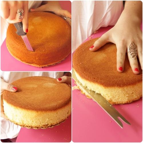 una volta tolto i bordi tagliate la torta in tre dischi