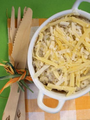 terrina di riso integrale con cavolo e formaggio