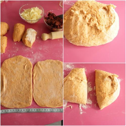 dividete la pasta in due e poi le metà in 4 palline che stenderete in rettangoli uguali
